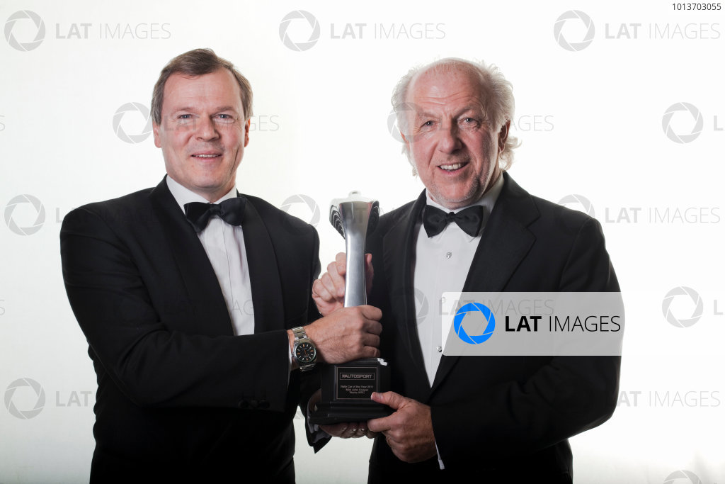 Grosvenor House Hotel, Park Lane, London 4th December 2011 David Richards and Dr Kay Segler with the Rally Car of the Year trophy awarded to the Mini John Cooper Works WRC. Portrait.World Copyright: Malcolm Griffiths/LAT Photographic ref: Digtal Image MG5D7419