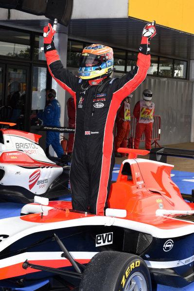 Race two winner Dean Stoneman (GBR) Marussia Manor Racing celebrates in parc ferme. GP3 Series, Rd1, Barcelona, Spain, 9-11 May 2014.