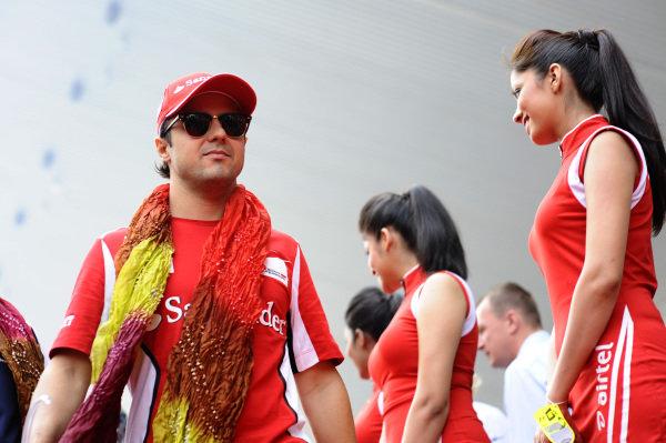 Felipe Massa (BRA) Ferrari, on the driver's parade. Formula One World Championship, Rd17, Indian Grand Prix, Buddh International Circuit, Greater Noida, New Delhi, India, Race, Sunday 28 October 2012.