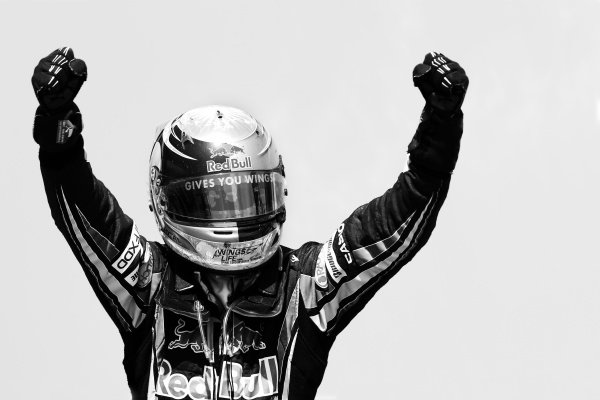 Race winner Sebastian Vettel (GER) Red Bull Racing celebrates in parc ferme.Formula One World Championship, Rd 9, European Grand Prix, Race, Valencia Spain, Sunday 27 June 2010.Note: This image has been digitally altered from the original, which is also available on the archive. (d10eur1418.jpg).
