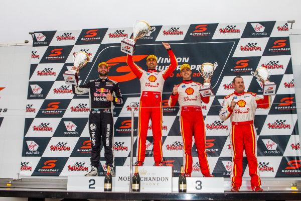 Shane van Gisbergen, Triple Eight Race Engineering Holden Fabian Coulthard, DJR Team Penske Ford Scott McLaughlin, DJR Team Penske Ford