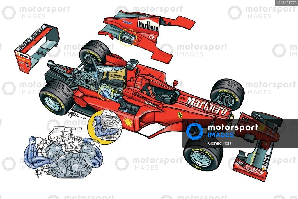Ferrari F300 (649) 1998 sidepod-top-exiting exhausts