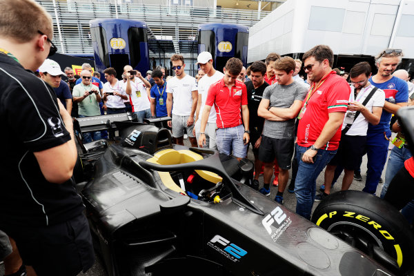 Autodromo Nazionale di Monza, Italy. Thursday 31 August 2017 The new 2018 F2 car is unveiled in the paddock. Photo: Zak Mauger/FIA Formula 2 ref: Digital Image _56I5271