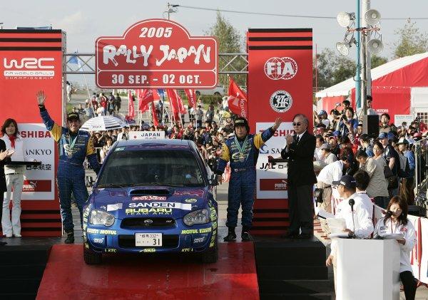 2005 FIA World Rally Champs. Round thirteen,  Rally Japan  29th September- 2nd October 2005 Toshi Arai & codriver Tony Sircombe, Subaru, PWRC Podium. World Copyright: McKlein/LAT