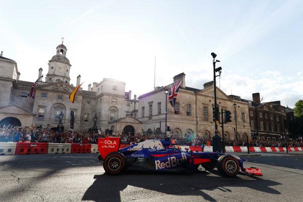 London, United Kingdom.  Wednesday 12 July 2017. Carlos Sainz Jr, Toro Rosso STR12 Renault.  World Copyright: Glenn Dunbar/LAT Images  ref: Digital Image _31I9835