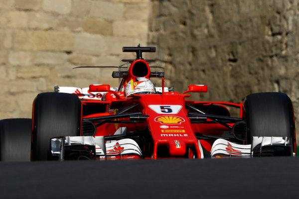 Baku City Circuit, Baku, Azerbaijan. Friday 23 June 2017. Sebastian Vettel, Ferrari SF70H.  World Copyright: Steven Tee/LAT Images ref: Digital Image _O3I1151
