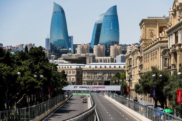 2017 FIA Formula 2 Round 4. Baku City Circuit, Baku, Azerbaijan. Friday 23 June 2017. Luca Ghiotto (ITA, RUSSIAN TIME), Louis Deletraz (SUI, Racing Engineering), Nobuharu Matsushita (JPN, ART Grand Prix)  Photo: Zak Mauger/FIA Formula 2. ref: Digital Image _56I6653