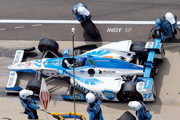 Verizon IndyCar Series Indianapolis 500 Race Indianapolis Motor Speedway, Indianapolis, IN USA Sunday 28 May 2017 Marco Andretti, Andretti Autosport with Yarrow Honda makes a pit stop World Copyright: Russell LaBounty LAT Images