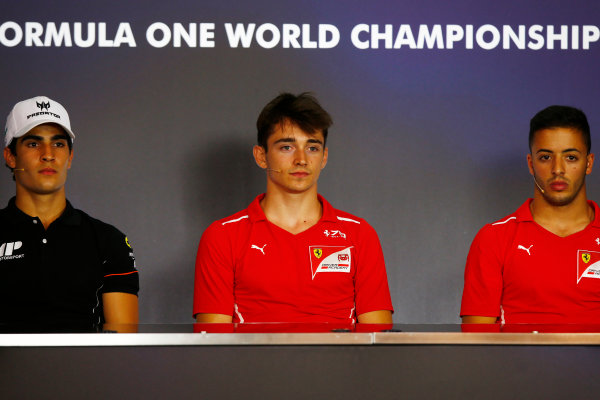 Red Bull Ring, Spielberg, Austria. Friday 7 July 2017 Charles Leclerc (MCO, PREMA Racing) Antonio Fuoco (ITA, PREMA Racing) and Sergio Sette Camara (BRA, MP Motorsport)  Photo:Hone/FIA Formula 2 ref: Digital Image _ONY0092