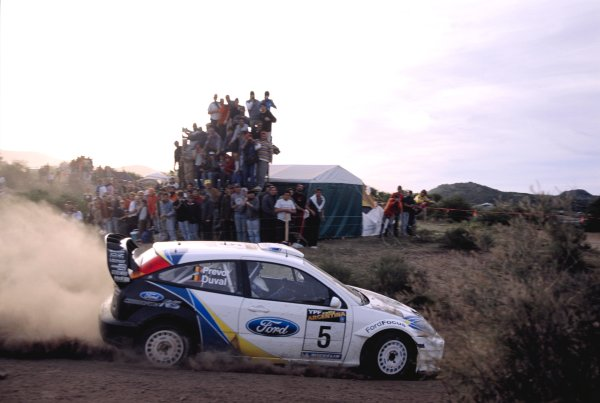 2003 World Rally ChampionshipRally Argentina, Cordoba, Argentina, 7th - 11th May 2003.Francois Duval/Stephane Prevot (Ford Focus RS WRC 3), action.World Copyright: LAT Photographicref: 03WRCArg07