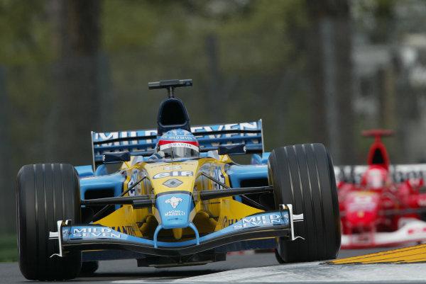 2003 San Marino Grand Prix - Saturday Final Qualifying,Imola, Italy. 19th April 2003 Fernando Alonso, Renault R23, action.World Copyright: Steve Etherington/LAT Photographic ref: Digital Image Only