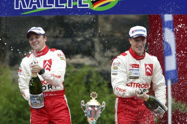 2006 FIA World Rally Champs. Round elevenDeutschland Rally.9th- 13th August 2006.Kris Meeke & Glenn Patterson, Citroen Super 1600, podium.World Copyright: McKlein/LAT