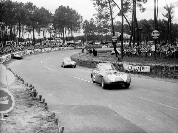 Le Mans, France. 12-13 June 1954.Peter Wilson/Jim Mayers leads Michael Keen/Tommy Line (both Bristol 450). They finished in 7th and 9th positions respectively.Ref-Motor 769/23.World Copyright - LAT Photographic