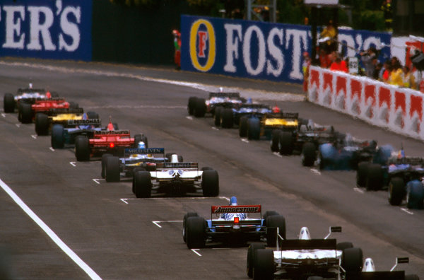 Imola, San Marino.25-27 APRIL 1997.The grid prepares to pull away at the start.Ref-97 SM 01.World  Copyright - LAT Photographic