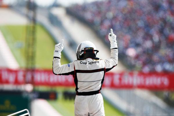 2014 Porsche Supercup. Sunday 2 November 2014. Earl Bamber, No.19 Fach Auto Tech, celebrates championship victory. World Copyright: /LAT Photographic. ref: Digital Image _W2Q7107