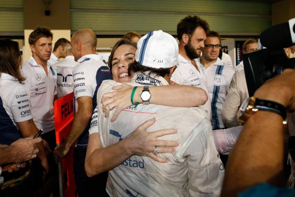 Yas Marina Circuit, Abu Dhabi, United Arab Emirates. Sunday 23 November 2014. Claire Williams, Deputy Team Principal, Williams F1, congratulates Felipe Massa, Williams F1, 2nd Position. World Copyright: Glenn Dunbar/LAT Photographic. ref: Digital Image _W2Q7500