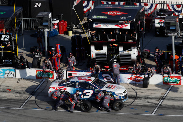 Monster Energy NASCAR Cup Series AAA Texas 500 Texas Motor Speedway Fort Worth, TX USA Sunday 5 November 2017 Austin Dillon, Richard Childress Racing, Winter in PyeongChang Chevrolet SS, pit stop World Copyright: Michael L. Levitt LAT Images