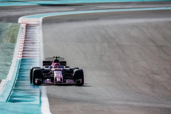 Yas Marina Circuit, Abu Dhabi, United Arab Emirates. Wednesday 29 November 2017. Esteban Ocon, Force India VJM10 Mercedes. World Copyright: Joe Portlock/LAT Images  ref: Digital Image _L5R8797