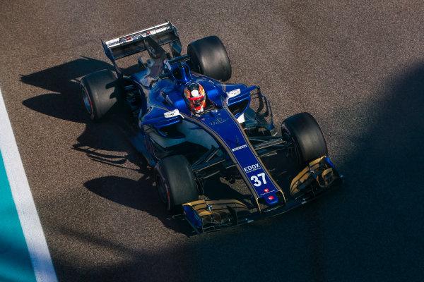 Yas Marina Circuit, Abu Dhabi, United Arab Emirates. Wednesday 29 November 2017. Charles Leclerc, Sauber C36 Ferrari.  World Copyright: Joe Portlock/LAT Images  ref: Digital Image _L5R0562