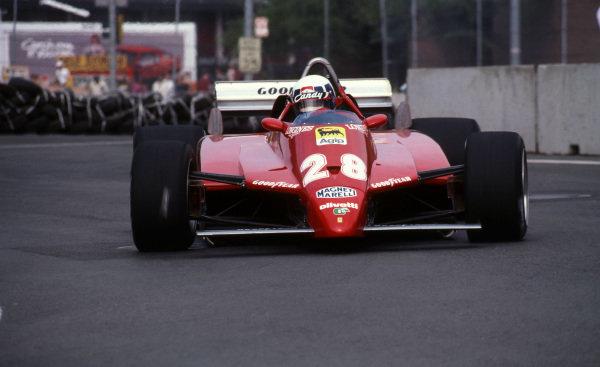 Didier Pironi (ITA) Ferrari 126C2, finished third. United States Grand Prix, Rd7, Detroit, Michigan, USA, 6 June 1982. BEST IMAGE