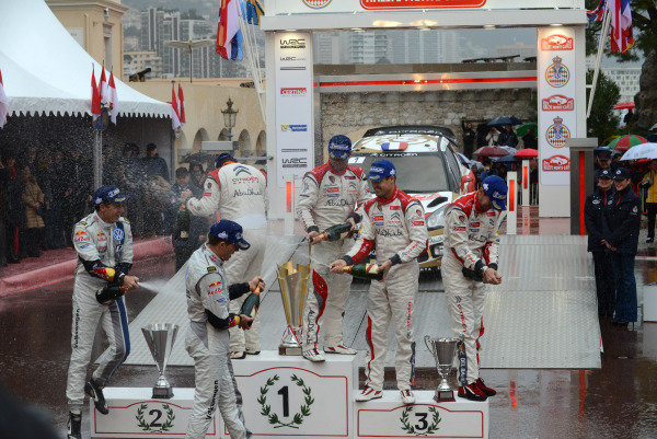 Podium and results: 1st Sebastien Loeb (FRA) Citroen, centre. 2nd Sebastien Ogier (FRA) VW, left. 3rd Dani Sordo (ESP) Citroen, right. Top three crews with champagne on the podium. FIA World Rally Championship, Rd1, Rally Monte- Carlo, Day Five, Monte-Carlo, Monaco, 20 January 2013.