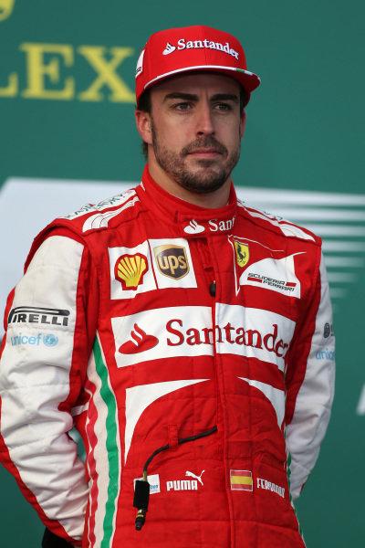 Fernando Alonso (ESP) Ferrari on the podium. Formula One World Championship, Rd1, Australian Grand Prix, Race, Albert Park, Melbourne, Australia, Sunday 17 March 2013.