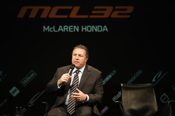 McLaren MCL32 Honda Formula 1 Launch. McLaren Technology Centre, Woking, UK. Friday 24 February 2017. Zak Brown, Executive Director of McLaren Technology Group, is interviewed on stage. World Copyright: Glenn Dunbar/LAT Images Ref: _X4I9423