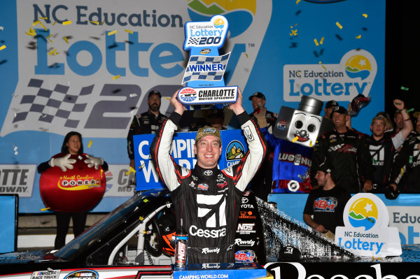 NASCAR Camping World Truck Series North Carolina Education Lottery 200 Charlotte Motor Speedway, Concord, NC USA Friday 19 May 2017 Kyle Busch, Cessna Toyota Tundra celebrates his win in Victory Lane World Copyright: Nigel Kinrade LAT Images ref: Digital Image 17CLT1nk04892