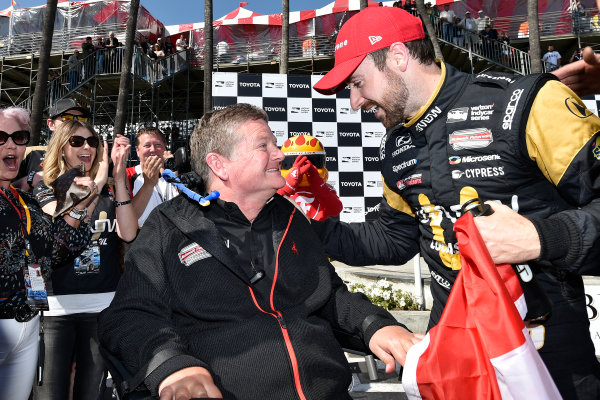 2017 Verizon IndyCar Series Toyota Grand Prix of Long Beach Streets of Long Beach, CA USA Sunday 9 April 2017 James Hinchcliffe and Sam Schmidt celebrates the win in victory lane World Copyright: Scott R LePage/LAT Images ref: Digital Image lepage-170409-LB-7652