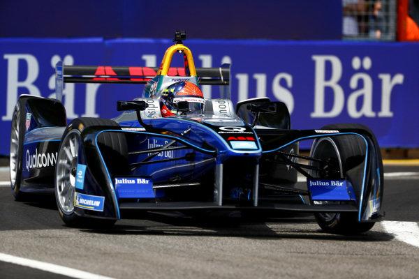 Emerson Fittipaldi, former F1 World Champion and Indy 500 winner, drives the Formula E car.