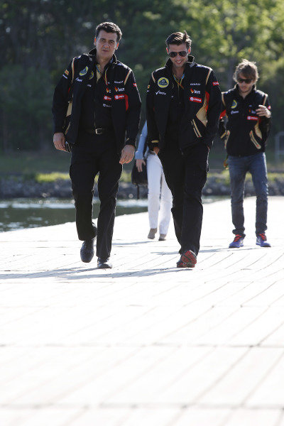 Circuit Gilles Villeneuve, Montreal, Canada. Saturday 7 June 2014. Federico Gastaldi, Deputy Team Principal, Lotus F1, and Matthew Carter, CEO, Lotus F1 Team. World Copyright: Charles Coates/LAT Photographic. ref: Digital Image _N7T3244