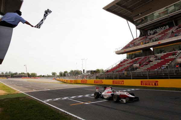 2015 GP3 Series Round 1. Circuit de Catalunya, Barcelona, Spain. Sunday 10 May 2015. Marvin Kirchhofer (GER, ART Grand Prix) takes the chequered flag. Photo: Zak Mauger/GP3 Series Media Service. ref: Digital Image _MG_7345