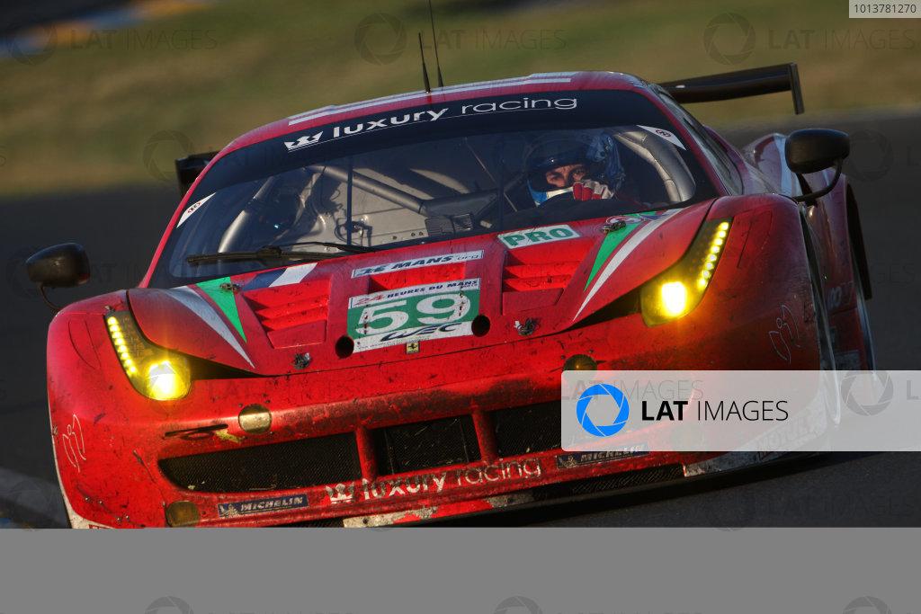 Circuit de La Sarthe, Le Mans, France. 13th - 17th June 2012. RaceFrederic Makowiecki/Jaime Melo/Dominik Farnbacher, Luxury Racing, No 59 Ferrari 458 Italia. Photo: Daniel Kalisz/LAT Photographic. ref: Digital Image IMG_9461