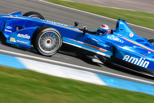 FIA Formula E Test Day, Donington Park, UK.  19th August 2014. Katherine Legge, Amlin Aguri. Photo: Malcolm Griffiths/FIA Formula E ref: Digital Image F80P9738