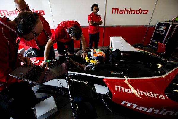 FIA Formula E Test Day, Donington Park, UK.  3rd - 4th July 2014.  Karun Chandhok, Mahindra Racing. Photo: Malcolm Griffiths/FIA Formula E ref: Digital Image A50A2848