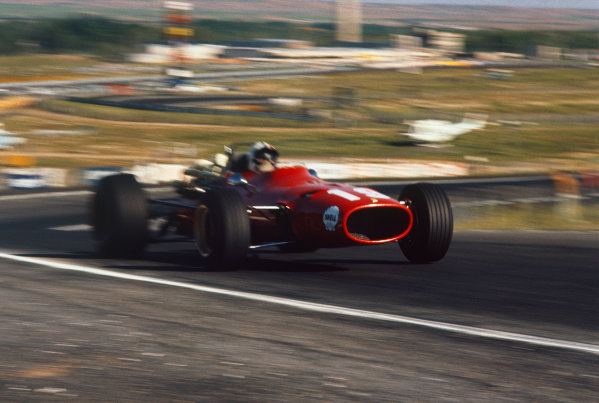 Jarama, Spain. 12 May 1968. Rd 2. Chris Amon (Ferrari 312), retired, action. World Copyright: LAT Photographic. Ref: 68ESP10.