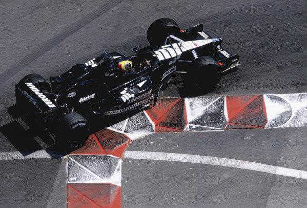 2001 Monaco Grand Prix. Monte Carlo, Monaco.  24-27 May 2001. Tarso Marques (Minardi PS01 European) at the Nouvelle Chicane. Ref-01 MON 33. World Copyright - Lorenzo Bellanca/LAT Photographic