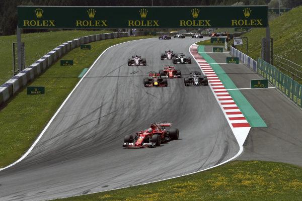 Sebastian Vettel (GER) Ferrari SF70-H at the start of the race at Formula One World Championship, Rd9, Austrian Grand Prix, Race, Spielberg, Austria, Sunday 9 July 2017.