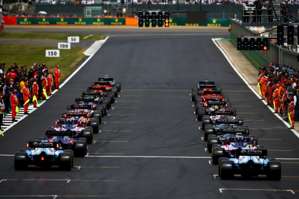 Rear of the grid at the start of the formation lap