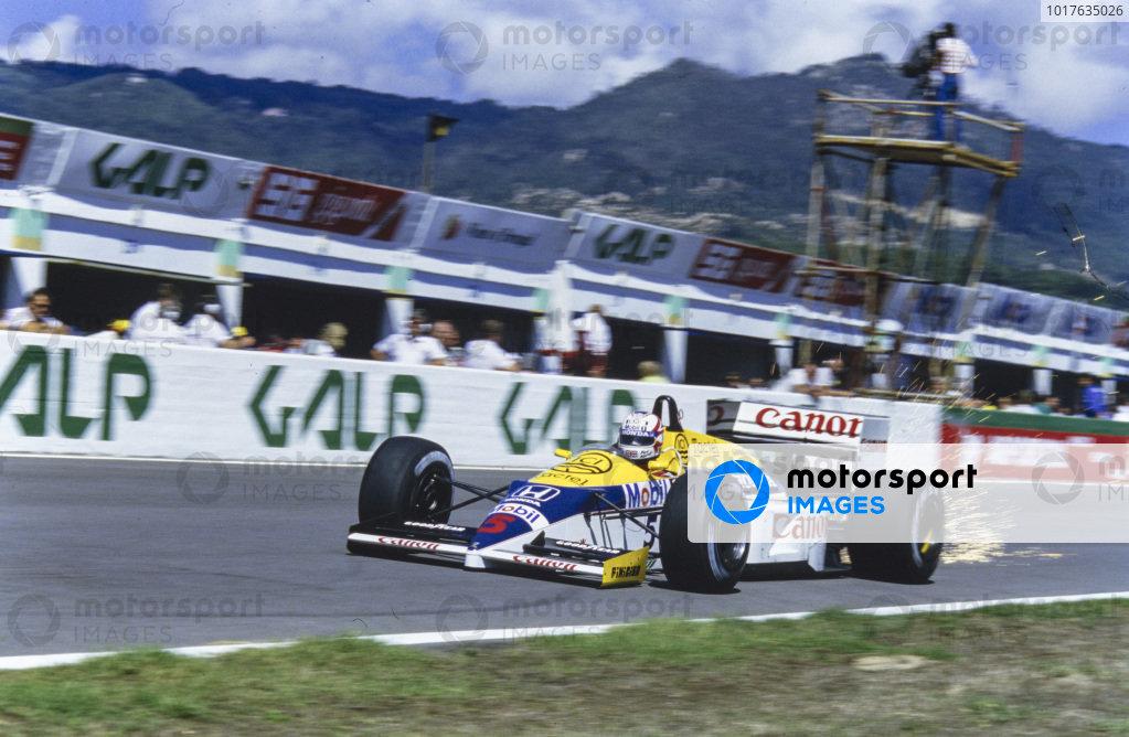 Nigel Mansell, Williams FW11 Honda, sparking.
