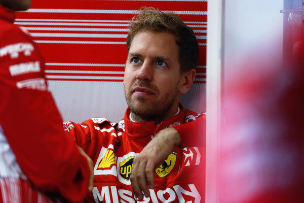 Sebastian Vettel, Ferrari, in the garage