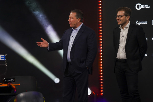 Zak Brown, Executive Director, McLaren and Andreas Seidl, Team Principal, McLaren, on stage at the launch of the McLaren MCL35