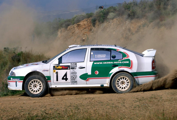 World Rally ChampionshipCyprus Rally, Cyprus. 18th - 21st April 2002. Kenneth Eriksson / Tina Thorner, Skoda Octavia WRC, 9th position overall.World Copyright: McKlein/LAT Photographicref: 35mm Image A19