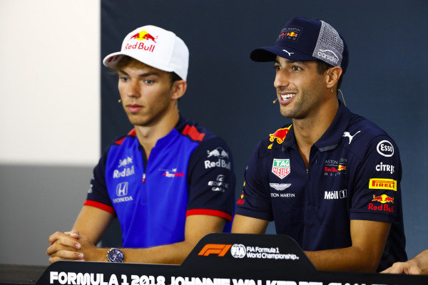 Pierre Gasly, Toro Rosso, and Daniel Ricciardo, Red Bull Racing, in the Thursday press conference.