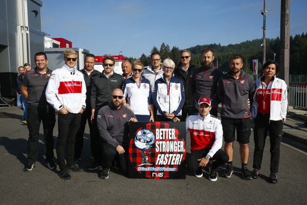 A get well message for IndyCar driver Robert Wickens. Peter Crolla of Haas, Marcus Ericsson, Alfa Romeo Sauber F1 Team, Emmanel Esnault of McLaren, Frederic Vasseur, Team Principal, Sauber, Anne Bradshaw, and Charles Leclerc, Alfa Romeo Sauber F1 Team, are among the well-wishers.