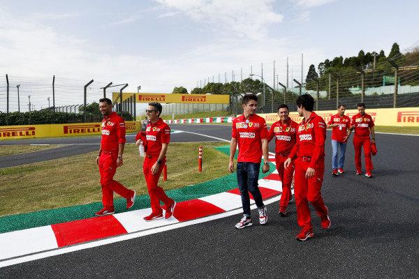 Charles Leclerc, Ferrari walks the track