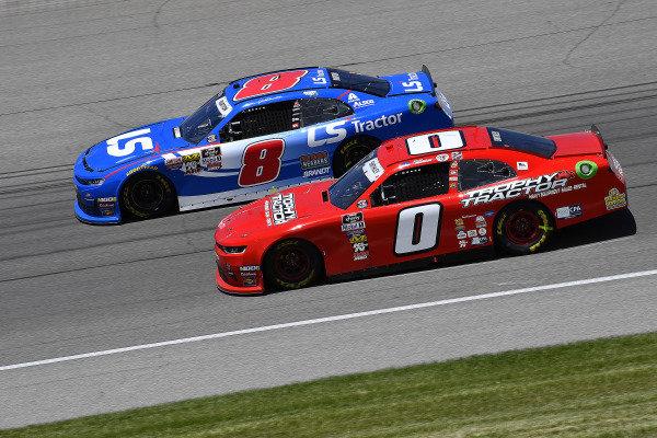 #0: Garrett Smithley, JD Motorsports, Chevrolet Camaro Victory Lane and #8: Jeb Burton, JR Motorsports, Chevrolet Camaro LS Tractor