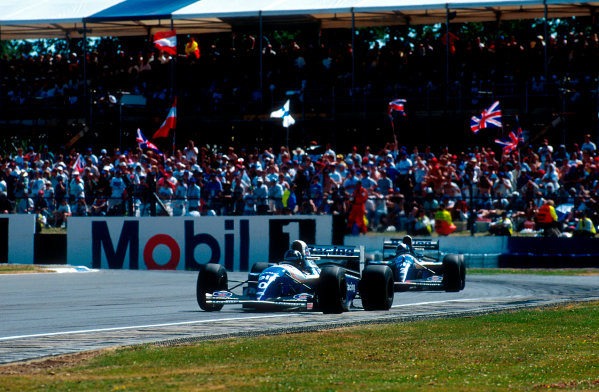 1994 British Grand Prix.Silverstone, England.8-10 July 1994.Damon Hill (Williams FW16 Renault) 1st position followed by teammate David Coulthard.Ref-94 GB 05.World Copyright - LAT Photographic