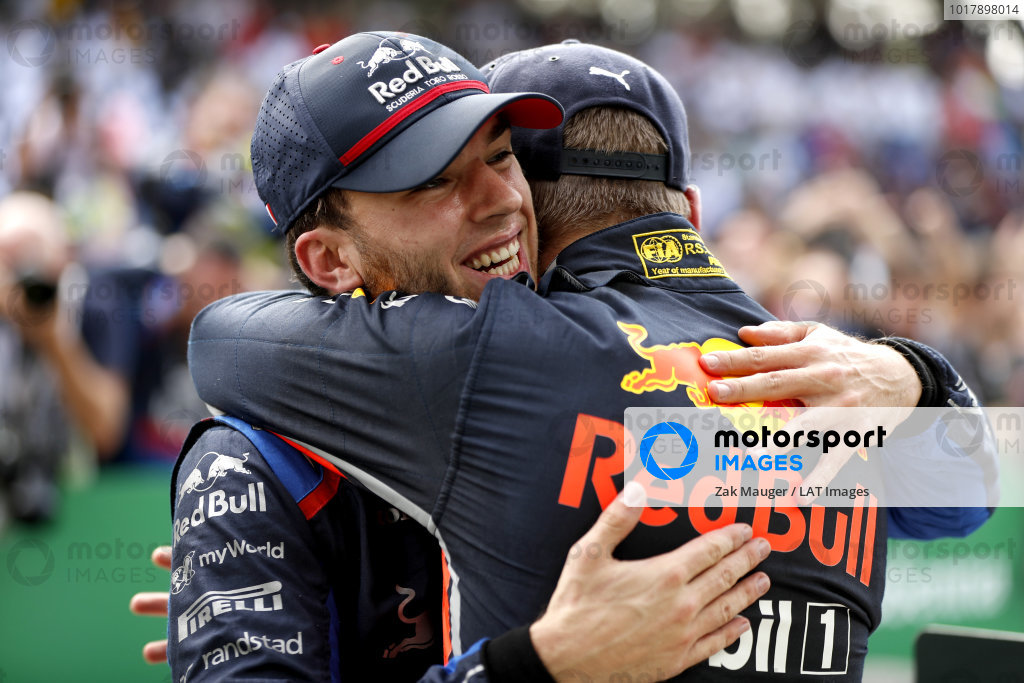 Pierre Gasly, Toro Rosso, 2nd position, and Max Verstappen, Red Bull Racing, 1st position, celebrate in Parc Ferme