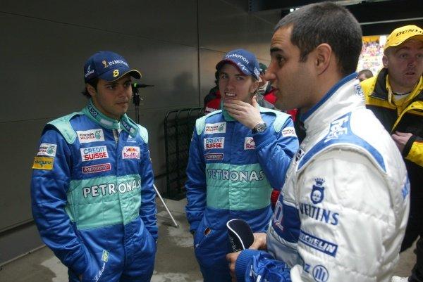 L-R: Felipe Massa (BRA), Nick Heidfeld (GER), Juan Pablo Montoya (COL) Australian Grand Prix, Albert Park, Melbourne, 3 March 2002DIGITAL IMAGE